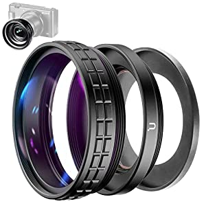 ULANZI Creative ZV-1 Wide Angle/Macro Additional Lens 52mm Diameter Compatible with Sony ZV-1 Camera, 2 in 1 Extra Lens Attachment with Strong Adhesive-Back Adapter Ring Mount, WL-1