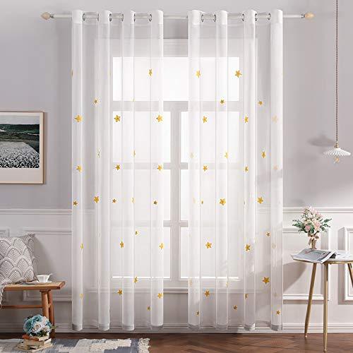 MIULEE Sheer Vorhang Voile Sterne Stickerei Ösen transparent Gardine 2 Stücke Ösenvorhang Schals Fensterschal für Kinderzimmer Wohnzimmer Schlafzimmer 175 cm x 140 cm(H x B) 2er-Set