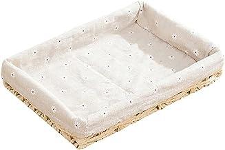 SKGOFGODcw Home Storage Bins Rattan Woven Storage Basket, Handmade Straw Basket, Key Candy and Snack Storage Box, Fabric L...