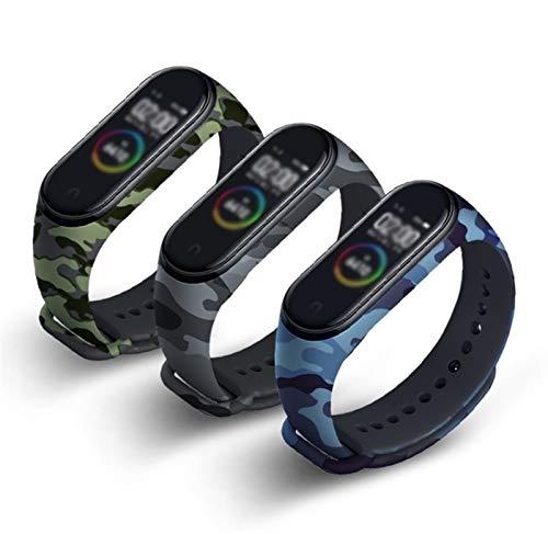 Adecuado para la Correa de Reloj de Camuflaje de Xiao MI 4/3, Correa de Reloj a Prueba de Agua de 3 PCS, Mesa de reemplazo de TPU Suave y cómoda, Reloj Inteligente, Liqingshangmao (Color : Set 1)