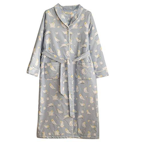 LYLSXY Pijamas, Damas Kimono100% Algodón Terciopelo Vestido Baño Bata Cálida Suave Acogedor Mantón Toalla Toalla de Tobera Housecoat para Mujeres,Gris,Grande