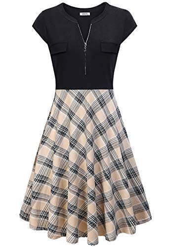 AxByCzD Dresses for Women Work Casual Midi Length,Ladies Office Wear Short Sleeve Cute Zip Vneck Special Occasion Frocks Summer Beach Patchwork Flowy A Line Dress with Décor Pockets Apricot Plaid L