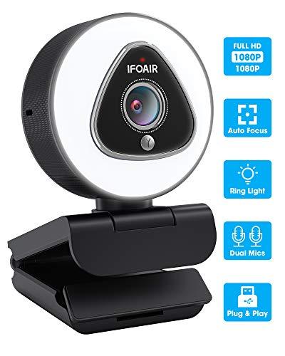 IFOAIR Webcam con luz de anillo ajustable incorporado y Micrófono de reducción de ruido. Enfoque automático, Plug & Play. Cámara web USB 1080P HD para Videollamadas y Grabación