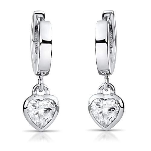 MATERIA Kinder Ohrringe Echt Silber Creolen - nickelfrei mit Herzen weiß 18x2mm für Mädchen in Box SO-389-Weiß
