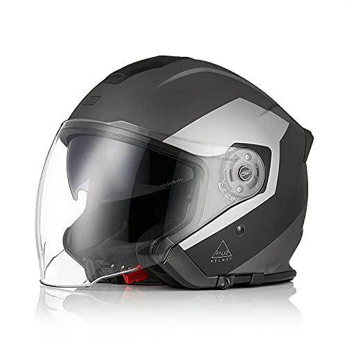 Origine Casco jet de cara abierta 3/4 para motocicleta con visera para adultos apto para scooter de crucero Street