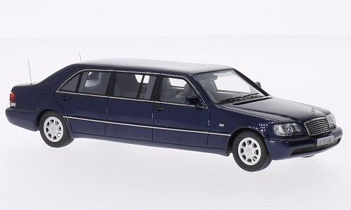 Mercedes S600 L Pullman (W140) Stretchlimousine, metallic-blau, 0, Modellauto, Fertigmodell, Neo 1:43