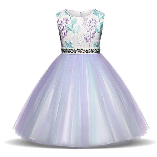 Meisje Bruiloft Bloem Meisje Jurk Kinderkleding meisjes mouwloos geborduurd bloemen verjaardag trouwfeest jurk strass steentjes peuter prinses vakantie tutu jurk regenboog tule schoonheid jurk Gir