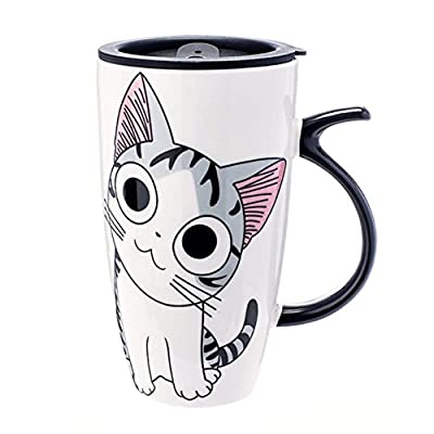 Big-Eyed Cartoon Kitty Porcelain Travel Cup