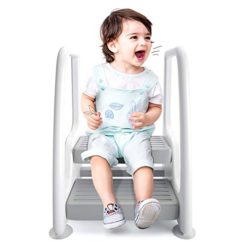 YXX Taburete para Niños Bebé Infantil Niños Pequeños Escalera De Taburete De 2 Escalones con Pasamanos, Niños Torre De Pie De Dos Pasos para Encimera De Cocina, Lavabo De Baño E Inodoro