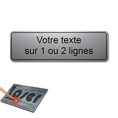 Mygoodprice Plaque gravée personnalisée 1 ou 2 Lignes 13x4cm autocollante Alu Brossé