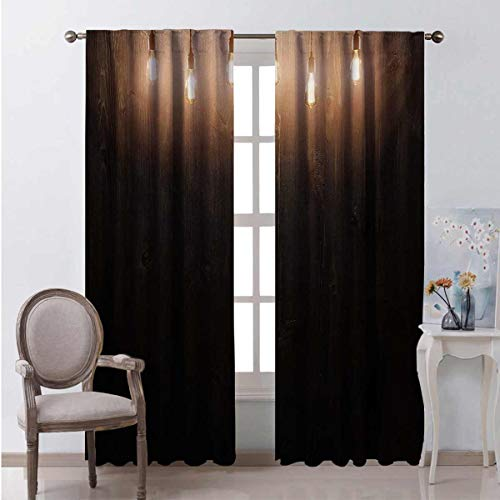Industrial Heat insulation curtain Wooden Dark Interior Room with Classical Edison Innovation For living room or bedroom W108 x L108 Inch Dark Brown Yellow and Cinnamon