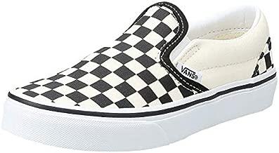 Vans Kids Classic Slip-On (Checkerboard) White/Black Skate Shoe 1.5 Kids US