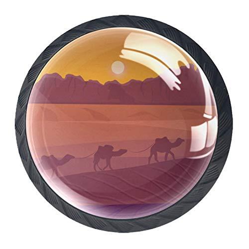 4 pomos redondos para aparador – Manija decorativa colorida con diseño floral para decoración del hogar, perillas para el paisaje del desierto con camellos