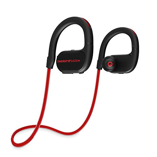 Energy Sistem Earphones BT Running 2 Neon Red (Auriculares inalambricos, Neon LED, IPX4, Secure-Fit, Extended Battery) Rojo