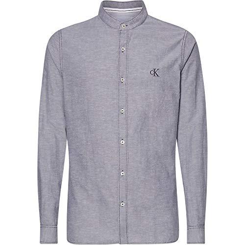 Calvin Klein Band Collar Linen Shirt Camisa, Gris (Abstract Grey Pp3), XS para Hombre