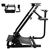Hottoby Racing Wheel Stand for Logitech Fanatec Thrustmaster Gaming Steering Wheel Pedal & Shifter Mount, TX T500 T300 G29 G920 PS4 Xbox, Foldable & Tilt-Adjustable Wheel/Pedals Not Included