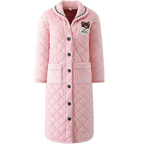 LeeQn Señoras Albornoz Linda Franela Batas Cálida Lana Coral Moda De Invierno Acolchado Bedgown Pink XL
