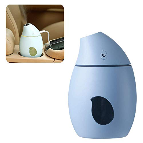 XJ0526 Mini Humidifier,Polymer Water Mist+Mute+7 Color Lights,Prevent Dry Burning Protection,Best for Small Guest Room,Car,160Ml,Blue