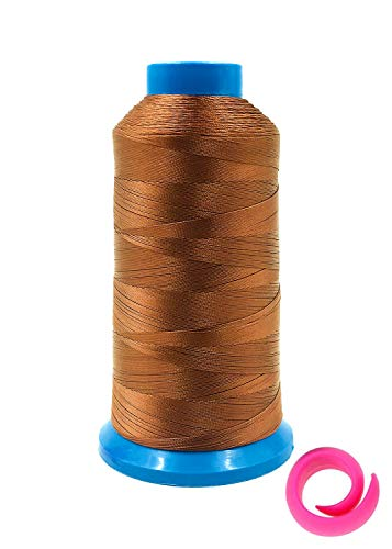 Bonded Nylon Sewing Thread 1500 Yard Size #69 T70 210D/3 for Upholstery, Leather, Vinyl, Canvas, Bag Shoes, with Extra Thread Spool Huggers (Brown)