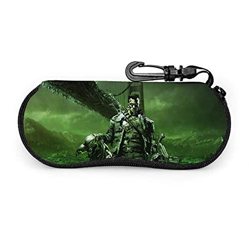 Terminator T - Funda para gafas de sol con cierre ultraligero portátil con cremallera con gancho de metal para colgar llaves de almacenamiento para gafas de seguridad para hombres y mujeres