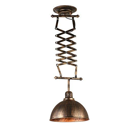 DS Candelabro Luz Pendiente del Estilo Industrial Retro nórdico, lámparas de Hierro retráctil, Sala de Estar del Restaurante Sala de ajedrez Lámpara Retro Ajustable E27 Tamaño de la lámpara -31x150cm
