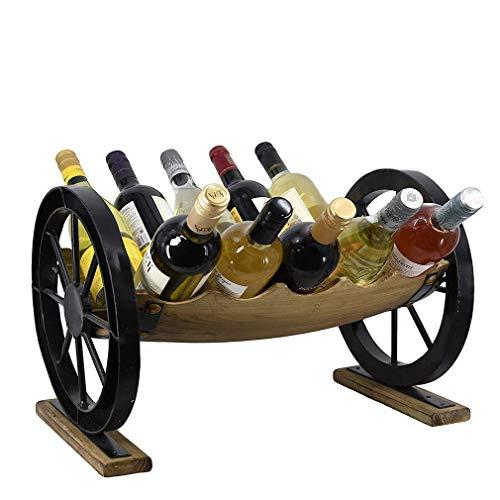QAQA Weinregal aus Holz und Glas-Halter Kabinett Natural Wood Wein-Anzeigen-Speicher, Dekoration Wohnzimmer Weinkühler Modernes Crafts-Geschenk, 10 Flaschen