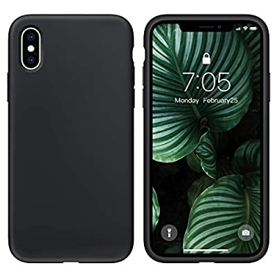 OUXUL Case for iPhone X/iPhone Xs Case Liquid Silicone Gel Rubber Phone Case,iPhone X/iPhone Xs 5.8 Inch Full Body Slim Soft Microfiber Lining Protective Case?Black?