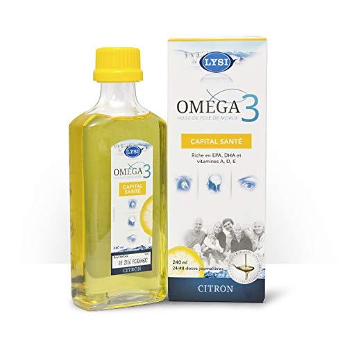 LYSI - Oméga 3 capital santé - Huile de foie de Morue - Saveur Citron - Riche en EPA, DHA et Vitamine A, D, E - 240ml