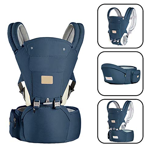 Baby Carrier with Cushion Hip Seat and Windproof Cap Perfect for Newborn Infant HikingBlue