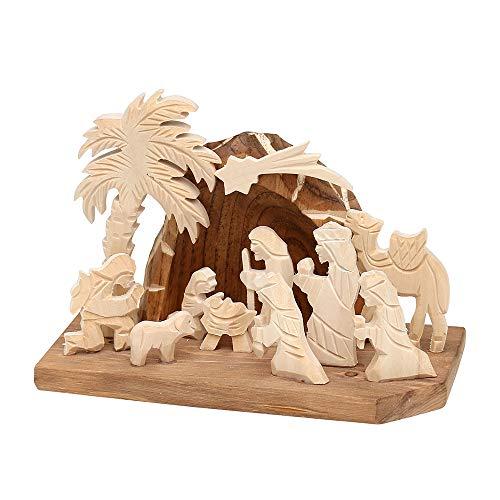 Dekohelden24 Handgeschnitzte Holz Krippe mit 9 Figuren, Breite 18 cm x Tiefe 10 cm x Höhe 13 cm