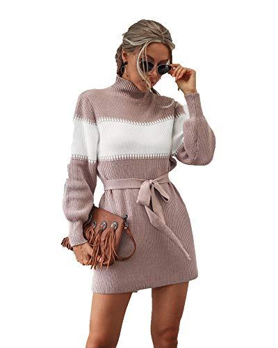 SLYZ Señoras Otoño Invierno Color De Contraste Vestido De Punto Medio Cuello Alto Manga De Linterna Vestido De Suéter A Juego De Color