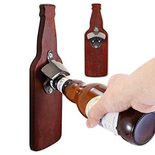 Abrebotellas Magnético Montado en La Pared Tapa Del Refrigerador Catcher Jarra de Cerveza en Forma de Pasta de Refrigerador Herramienta de Apertura de Madera Regalo para Amantes