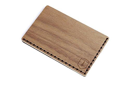 BeWooden Tarjetero de piel y madera Nox Note – tarjetero de cuero para hombre – tarjetero para 25 tarjetas de visita y para 7 tarjetas de credito – tarjetero rigido y duro – tarjetero marrón