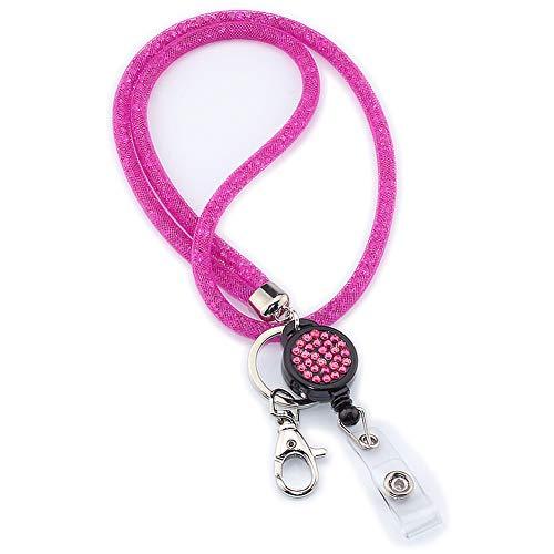 LNIMIKIY - Correa para collar con llavero, diseño de cámara de cristal, ligera, para oficina, correa universal para teléfonos móviles, soporte de malla para colgar teléfono móvil (rosa)
