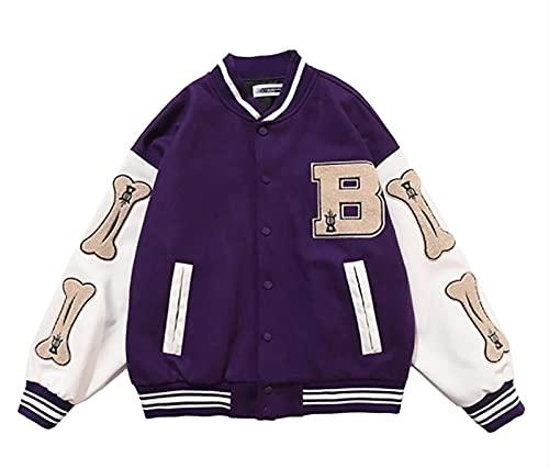 HSY SHOP Chaqueta de béisbol Unisex, Chaqueta universitaria, Chaqueta universitaria, Abrigo Deportivo de Retazos de Gran tamaño, Chaqueta con Costuras de Cuero PU (Color : Purple, Size : XL)