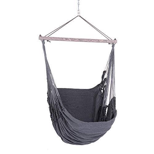Chico hangstoel 190 x 95 cm synthetisch grijs-effen (incl. draaimechanisme, karabijnhaak en ketting)