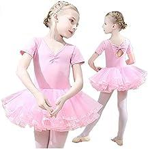 فستان باليت للبنات من بيونتي، فستان رقص ممشوق المقاس للرقص بتنورة منفوخة بأكمامٍ قصيرة