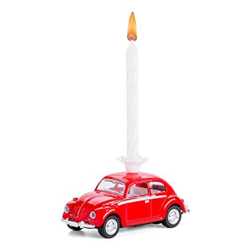 corpus delicti :: Candela su Ruote - Il Regalo di Compleanno con Una Candela per Tutti i Fan di Maggiolino VW - VW Beetle in Metallo (Rosso)