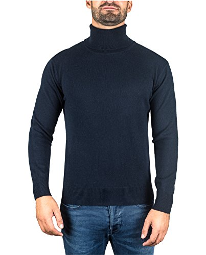 CASH-MERE.CH 100% Kaschmir Herren Pullover | Sweater Rollkragen 2-fädig (Blau/Marine, XL)