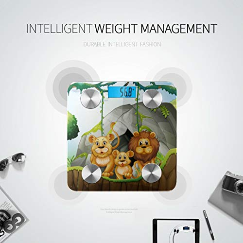 Cartoon Wild Animal in The Jungle Best Rated Bathroom Scales Body Mass Scale Accurate Weight Scale Tracks 8 Key Compositions Analyzer Sync with Fitness Apps 400 Lbs