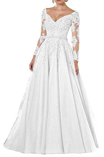 Vintage Abendkleider Lang Spitzen Ballkleider Brautmutterkleider A-Linie Hochzeitskleid Langarm Maxikleider Weiß 56