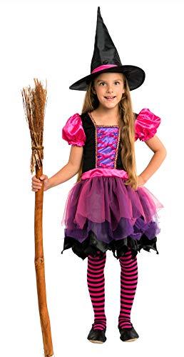 Magicoo costume da bambina per Halloween, strega, fata, vestito e cappello rosa viola nero – costume da bambina