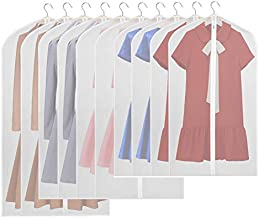 KEEGH Hanging Garment Bags for Storage Set of 10 Lightweight Moth-Proof PEVA Suit Covers Dress Clothes Protector Bag Full Zipper Breathable Translucent Dust Cover for Closet- 43''/54''/ 60''