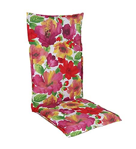Spetebo Acolchado de fácil cuidado para respaldo alto Florenz para silla de jardín con correa de sujeción (modelo 14)