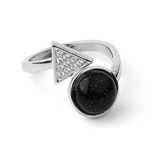 adjustable ring for women,Silver Triangular Zirconia Inlaid Round Natural Blue sandstone Aura Stone charm Adjustable Open Knuckle Tail Ring Finger Joint Toe Ring Jewelry for Women Girls Gift Wedding