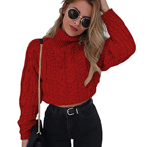 Women Cropped Sweaters Cable Knit Turtleneck Long Sleeve Oversize Chunky Pullover Jumper Winter Crop Top (Red,Small)