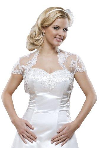 Princess Brautmoden Braut Jacke aus Spitze, Bolero zum Brautkleid, kurze Ärmel