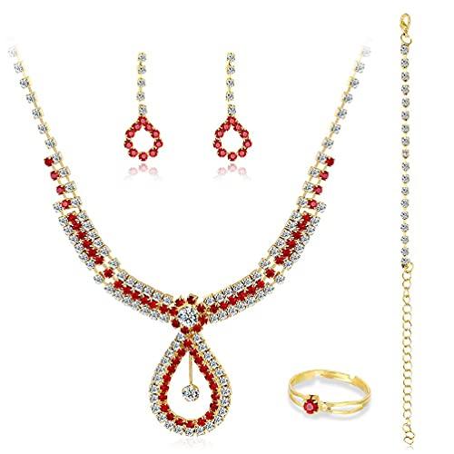Juego de joyas para novia, para boda, con colgante de lágrima, collar, collar, collar, collar, sostenedor, extensor, collar de cadena para adolescentes y niñas