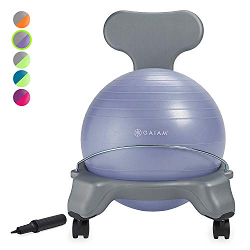 Gaiam Kids Balance Ball Chair - Classic Childrens Stability Ball Chair, Alternative School Classroom Flexible Desk Seating for Active Students with Satisfaction Guarantee, Purple