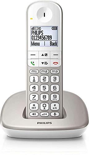 Philips XL4901S / 23 - Fixed Wireless Telefon (16 Stunden, Headset kompatibel, Direktwahl, freihändig, My Sound, 2 Nummern pro Kontakt, rutschfest, Noise Reduction) Weiß/Gold